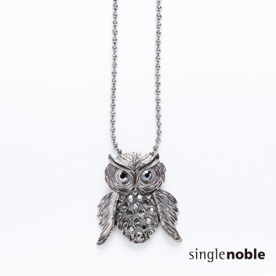 獨身貴族 神秘黑夜貓頭鷹造型鏤空水鑽項鍊(1色)