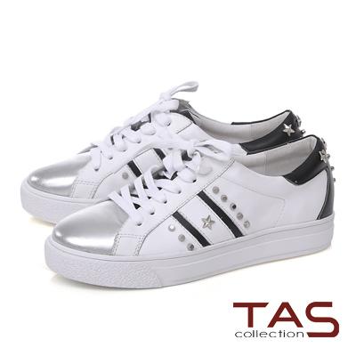 TAS星星鉚釘雙斜線拼接金屬色綁帶休閒鞋-銀白
