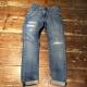 511 修身窄管刷破設計丹寧牛仔褲-水洗藍-