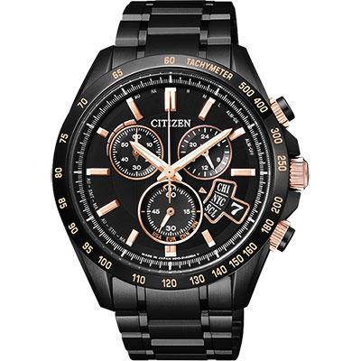 CITIZEN 世界時間萬年曆防磁電波計時錶(BY0135-57E)-黑/42mm