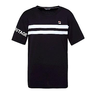 FILA 男款吸濕排汗圓領T恤-黑 1TES-1420-BK