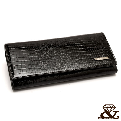 2R-頂級牛皮SIENNA鱷魚壓紋長夾-奢華黑