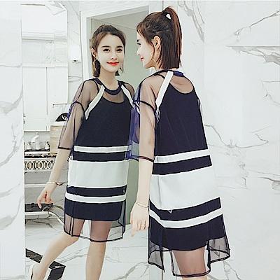 中大尺碼藍白橫條配色網紗罩衫洋裝加黑色細肩背心裙XL~4L-Ballet Dolly