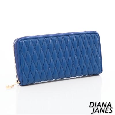 Diana-Janes-小羊皮時尚抓皺女夾-藍色