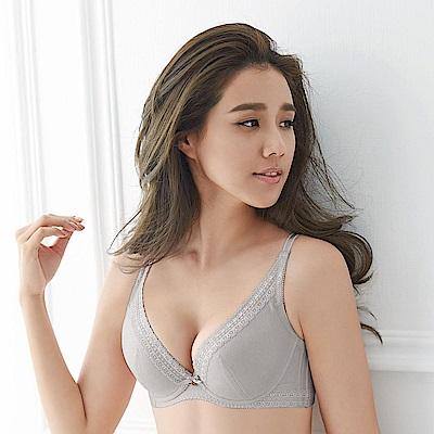 蕾黛絲-挺素面V版型 D-E罩杯內衣(沉穩灰)