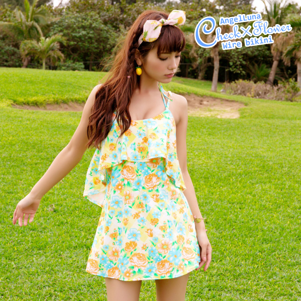 【AngelLuna日本泳裝】印花格紋三件式比基尼泳衣-黃色