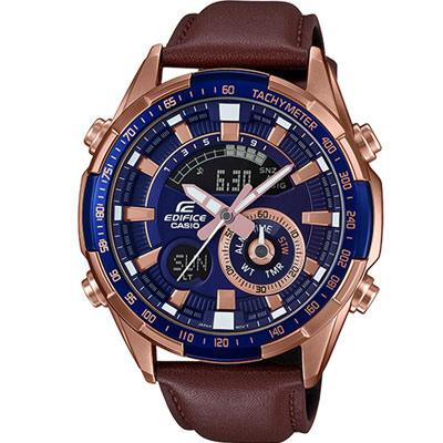 EDIFICE 沉穩時尚風格雙顯錶(ERA-600GL-2A)藍x玫瑰金色/47.1mm