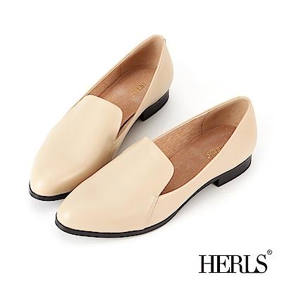 HERLS 全真皮 極簡品味橢圓頭淺口樂福鞋-杏色