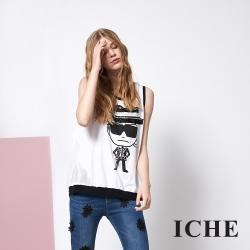 ICHE 衣哲 時尚人像印花釘飾拼接造型上衣