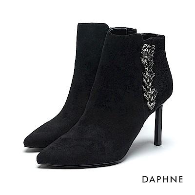 達芙妮DAPHNE 短靴-絨布拼接歐風鑽飾高跟踝靴-黑