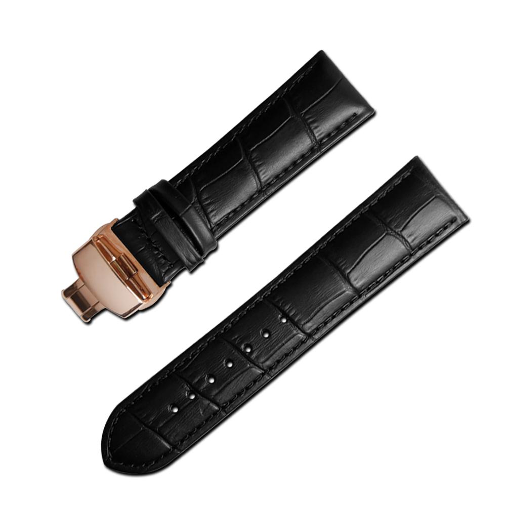 Watchband 經典復刻時尚指標壓紋真皮雙邊壓扣錶帶 黑x玫瑰金扣