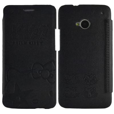 Aztec 凱蒂貓 HTC New One M7 側掀式皮套-低調黑