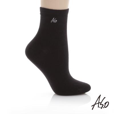A.S.O 抗菌排汗休閒短襪 黑