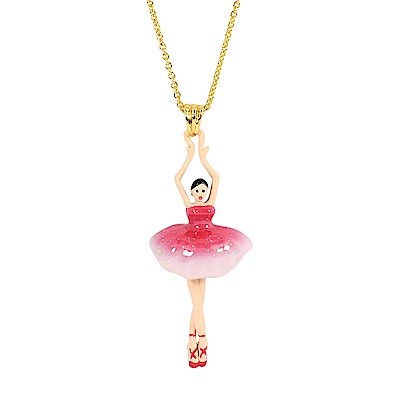 Les Nereides 優雅芭蕾舞女孩系列 水鑽澎澎裙女孩金色項鍊 漸層粉紅色
