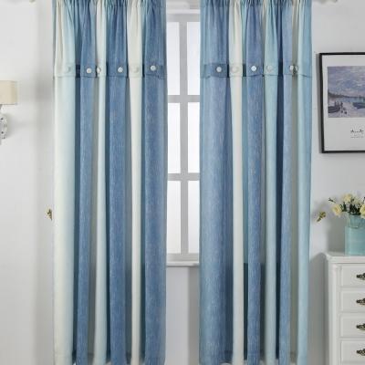 伊美居 - 海洋漸層半遮光單層落地窗簾(精美鈕釦裝飾) 130x230cm(2件)