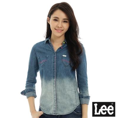 Lee 牛仔刷色長袖襯衫-女-藍