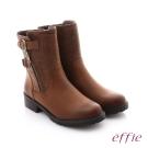 effie 個性美型 防潑水麂皮扣帶拉鍊中筒靴 茶色