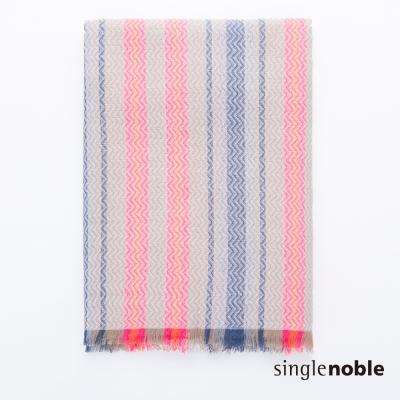 獨身貴族 名媛風采條紋混色幾何波紋設計圍巾(2色)