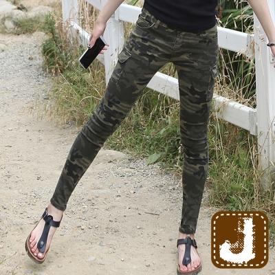 正韓 時尚軍風迷彩貼腿長褲(迷彩綠)-100%Korea Jeans