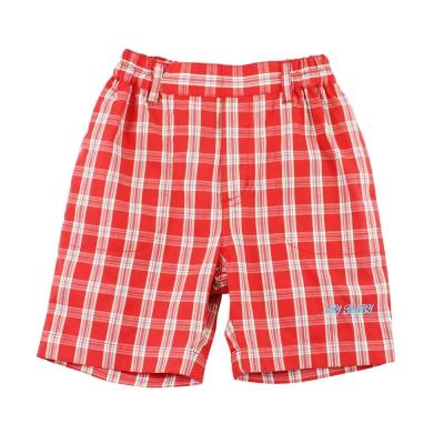 愛的世界 MYBABY 純棉鬆緊帶紅格紋五分褲/<b>2</b>~<b>3</b>歲