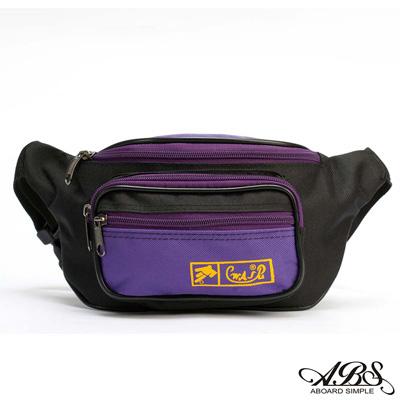 ABS愛貝斯 輕量防潑水船型腰包 旅行防搶包(黑/紫)728