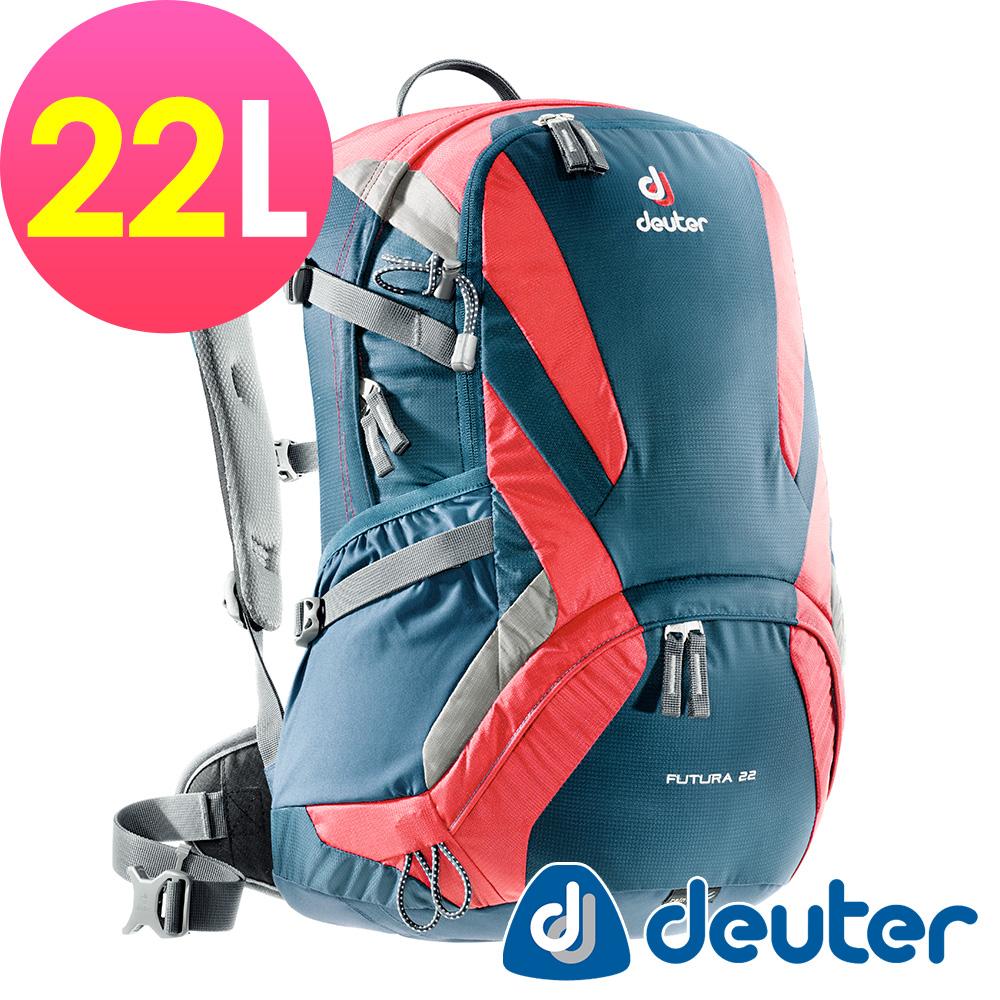 【ATUNAS 歐都納】德國DEUTER 網架直立式透氣登山後背包22L/34204深藍紅
