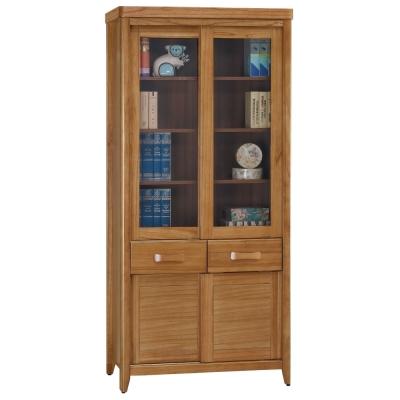 品家居 克莉絲蒂3尺柚木推門中抽書櫃