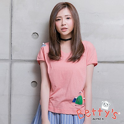 betty's貝蒂思 V領短袖T-shirt(粉桔)