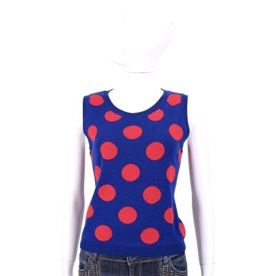 BOUTIQUE MOSCHINO 藍紅色圓點無袖針織上衣