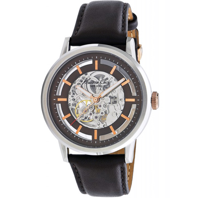Kenneth Cole 都會時尚鏤空機械錶-咖啡X黑/46mm