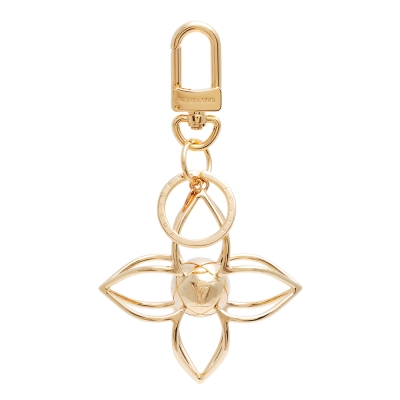 LV M61024 經 SPHERE Monogram立體花卉造型吊飾鑰匙圈(金)