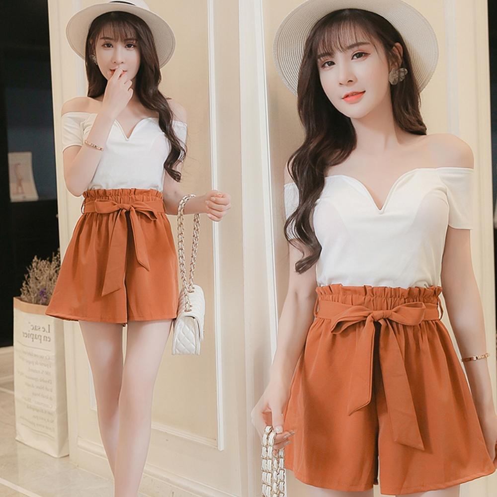 La Belleza素面滑布腰綁帶鬆緊腰彈性褲裙 product image 1