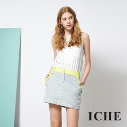 ICHE 衣哲 印花撞色滾邊拼接鉛筆造型短裙