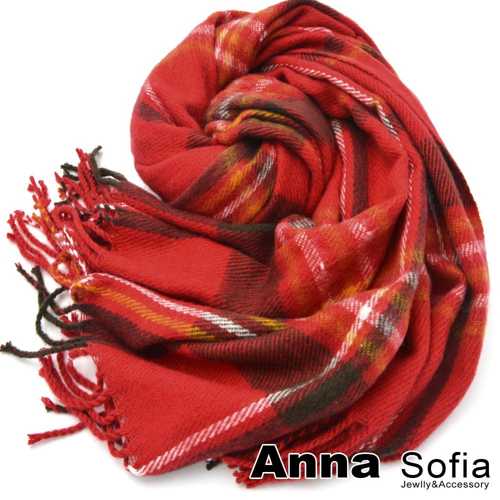 AnnaSofia 格紋木釦 仿羊絨披肩圍巾(櫻紅色)