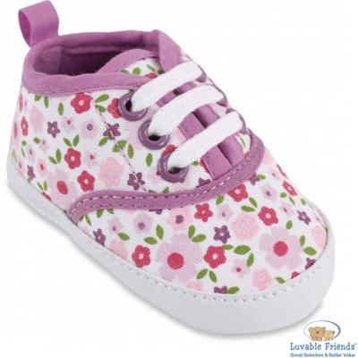 Luvable Friends 粉紫小花嬰兒小布鞋