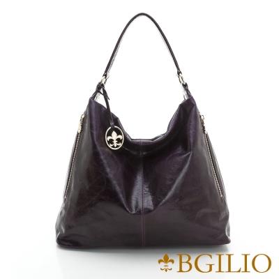 義大利BGilio - 義大利牛皮時尚造型肩背包-紫色1944.005A-10