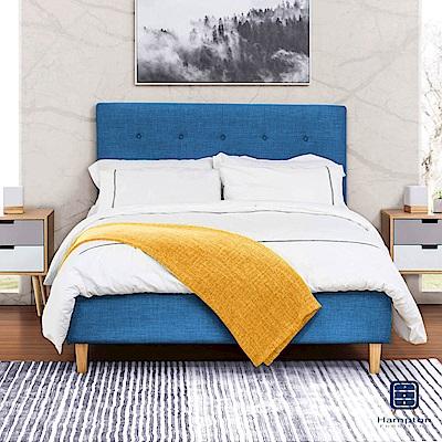 漢妮Hampton莫里斯5尺布面拉扣雙人床架-藍