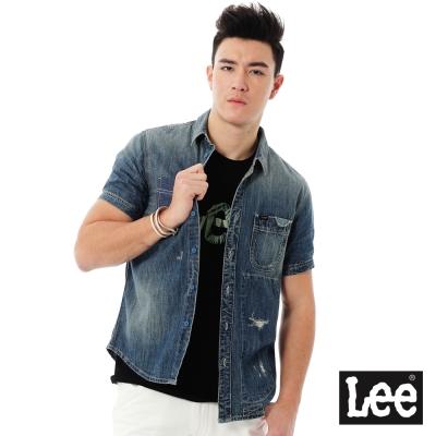 Lee 牛仔短袖襯衫Vintage Laundry系列-男款-藍色