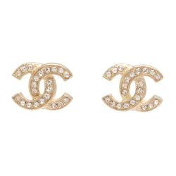 CHANEL 香奈兒經典雙C LOGO 水鑽鑲嵌滾邊壓紋穿式耳環(金)