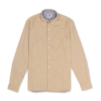 Timberland 男款黃金色格子紋路長袖襯衫