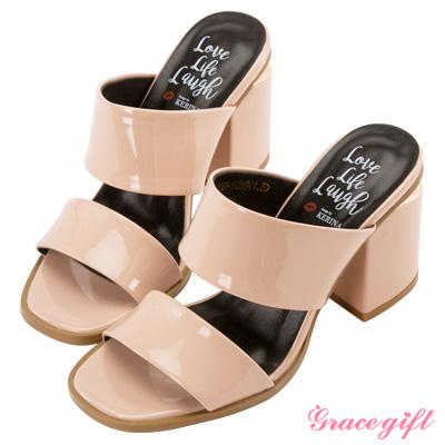 Grace gift X Kerina妞妞-雙寬帶金屬片粗跟涼鞋 粉