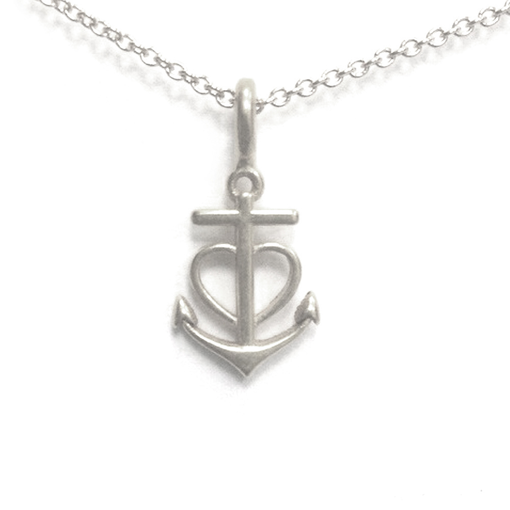 Dogeared 船錨鑲愛心 anchor heart 一帆風順 銀色許願項鍊 附原廠盒