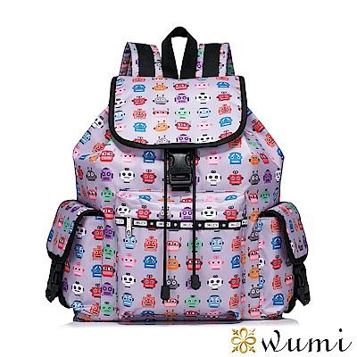 WuMi 無米 機器人絲印圖形後背包 繽紛紫