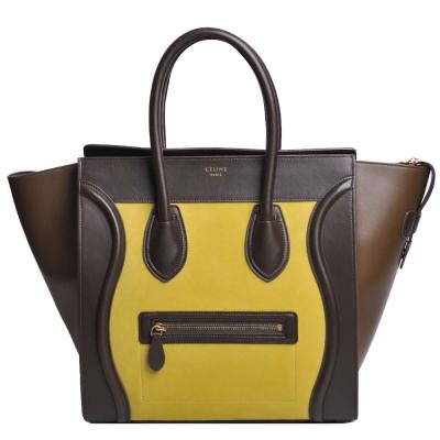 CELINE Mini Luggage 小牛皮拼接手提微笑包(黃/綠拼接)
