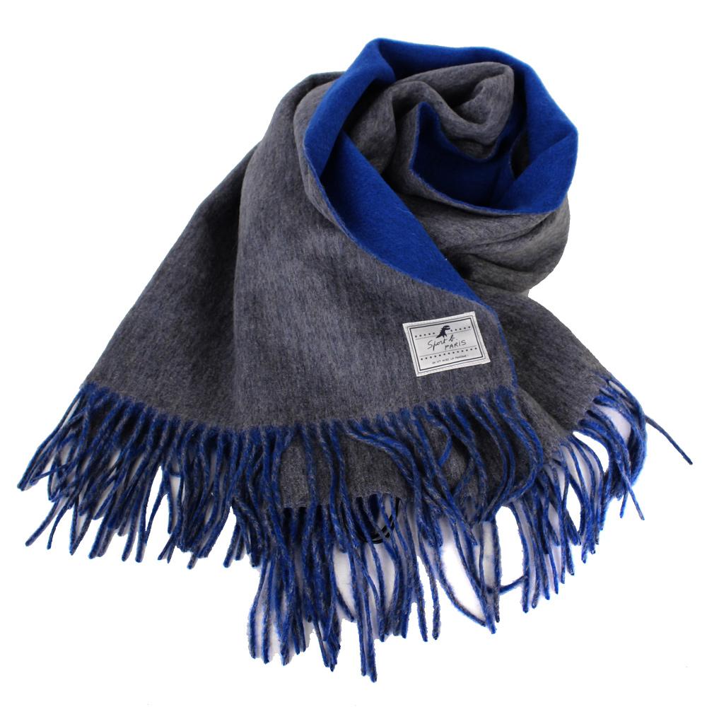agnes b-SPORT b.白標logo流蘇雙面大披肩圍巾灰&藍
