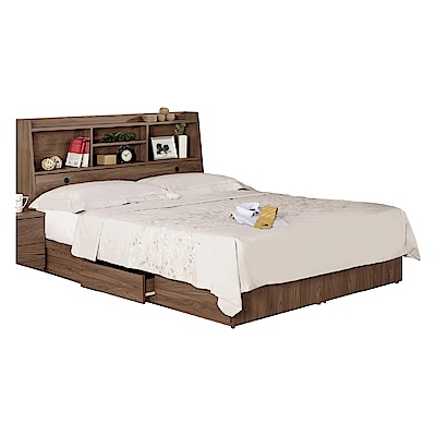 品家居 凱倫5尺雙人收納床台組合(不含床墊)-151.5x211x104.5cm免組