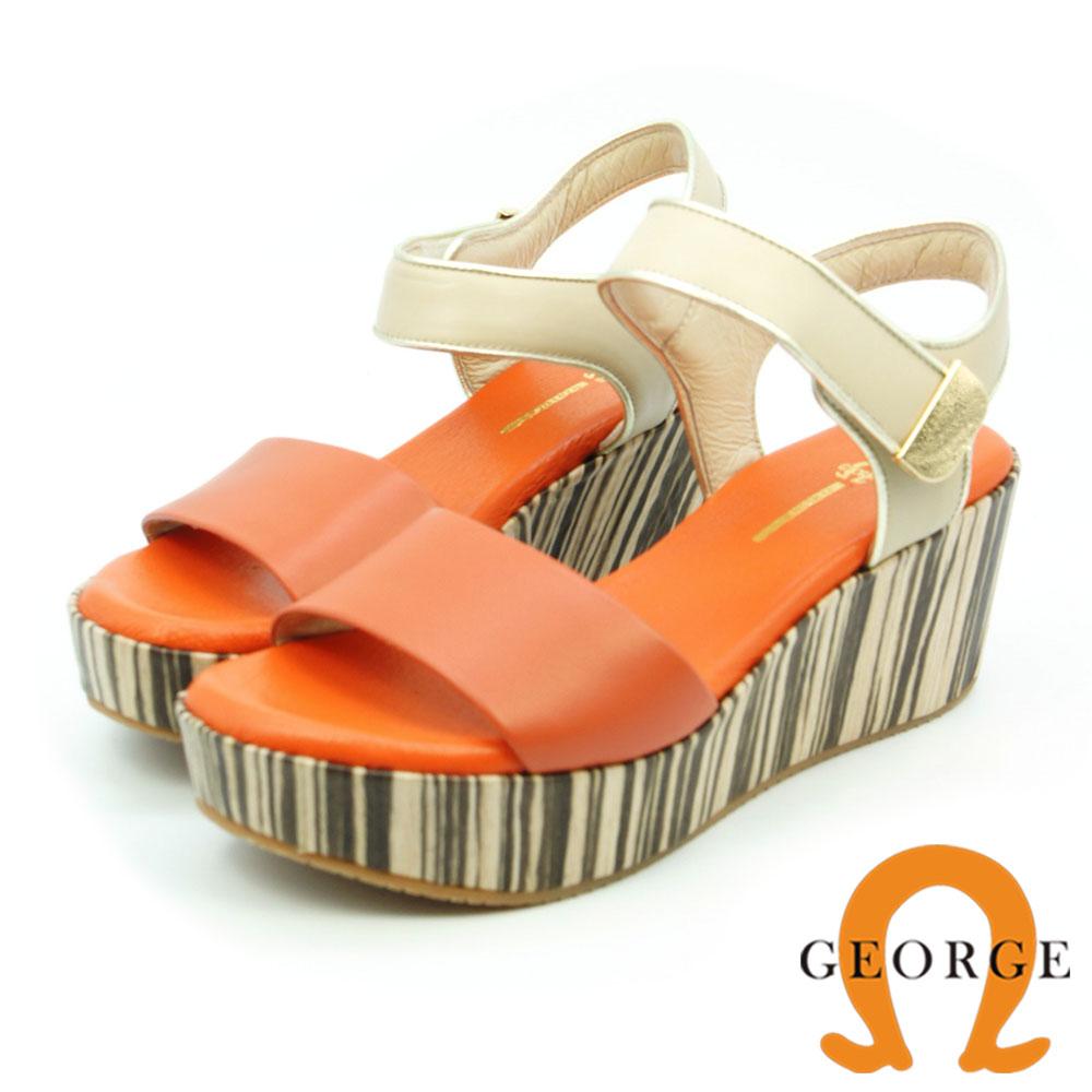 GEORGE 喬治-真皮寬帶厚底木紋涼鞋(女)-粉橘