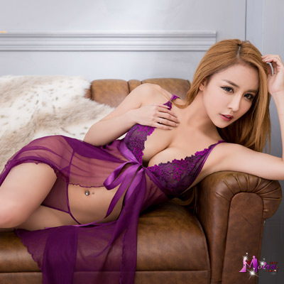 性感睡衣 魅惑紫深V前後開襟薄紗二件式睡衣(紫色F) Moira