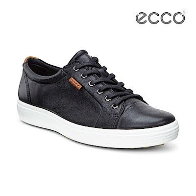 ECCO SOFT 7 MEN'S 經典輕巧休閒鞋-黑