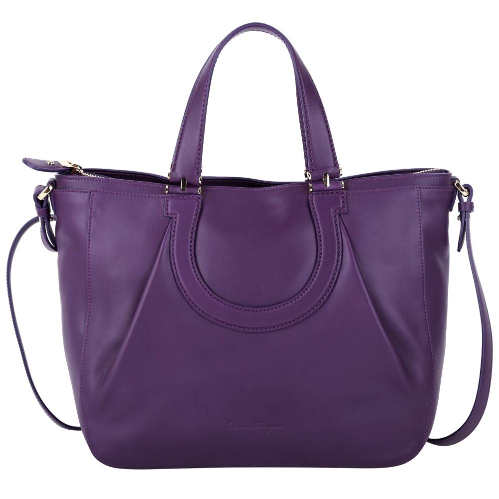 Salvatore Ferragamo NALA 拼接馬蹄設計兩用包(紫色)